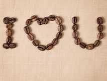Declaration of love with coffee beans Stock Image