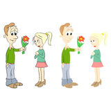 Declaration of love. The guy gives the flowers to the girl Stock Images