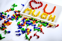 Declaration of love, laid out from children`s mosaic. Stock Images