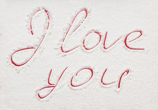 The declaration of love, painted in red royalty free stock photo