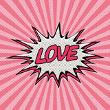 Declaration of love pop art. Comic Speech Bubble. Love cartoon explosion. Falling in love. Vector Royalty Free Stock Photography