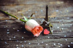 Declaration of love, the rose with a ring Royalty Free Stock Photography