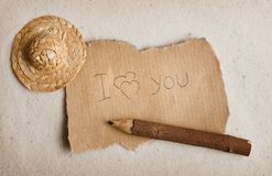 Declaration of love on sheet. I love you. The message on fragmentary sheet Royalty Free Stock Photography