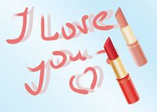 Declaration of love written by lipstick. On a mirror Royalty Free Stock Images