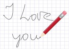 Declaration of love written by pencil. Declaration of love written by a pencil in a school writing-book Royalty Free Stock Photography