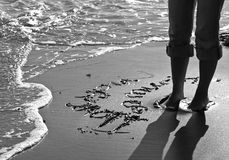 Declaration in Sand. The words I Love You written in sand Royalty Free Stock Images