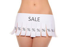 Declaration instead of skirt with words sale Stock Photos