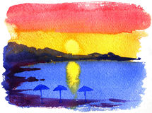 Decline. Watercolor drawing of a decline on the beach on textured paper vector illustration