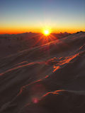 Decline 3. Sunset in snow-covered mountains of Caucasus Royalty Free Stock Photography