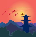 Decline. Red decline in china mountains vector illustration
