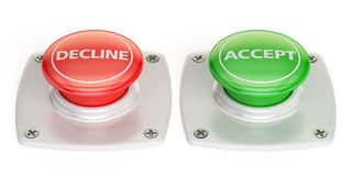Decline and accept push button, 3D rendering. Isolated on white background Royalty Free Stock Images