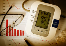 Decline charts and high blood pressure. Working late at office. Digital blood pressure monitor, glasses, pen and pills on financial reports Stock Photo