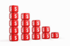 Decline Dollar Chart. Stacks of Red Dices with Dollar Currency Symbol Stock Photography