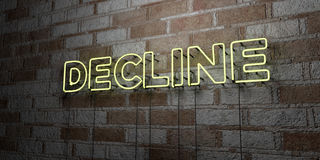 DECLINE - Glowing Neon Sign on stonework wall - 3D rendered royalty free stock illustration. Can be used for online banner ads and direct mailers stock illustration
