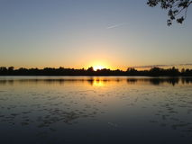 Sunset over a lake. Royalty Free Stock Photography