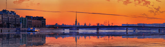 Decline over Neva and the Peter and Paul Fortress in St. Petersb Stock Image