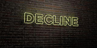 DECLINE -Realistic Neon Sign on Brick Wall background - 3D rendered royalty free stock image. Can be used for online banner ads and direct mailers stock illustration