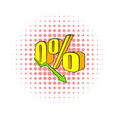 Decline in revenue icon, comics style. Decline in revenue icon in comics style on dotted background. Finance symbol Stock Photo