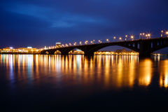 Decline, river Yenisei, municipal bridge view of the city Stock Image