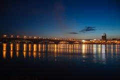 Decline, river Yenisei, municipal bridge view of the city. Krasnoyarsk, Russia - May 9, 2014: decline, river Yenisei, municipal bridge view of the city Stock Image