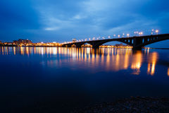 Decline, river Yenisei, municipal bridge view of the city Royalty Free Stock Photography