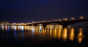 Decline, river Yenisei, municipal bridge view of the city. Krasnoyarsk, Russia - May 9, 2014: decline, river Yenisei, municipal bridge view of the city Stock Photo