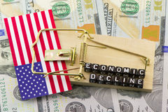 The decline of the US. Economy Royalty Free Stock Images
