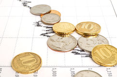 Decline in yield. Decline in yield and general condition of the economy stock photo
