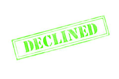 `DECLINED ` rubber stamp over a white background Stock Image