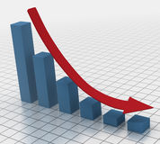 Declining bar chart with arrow. 3D render of falling bar chart with red arrow showing the decline Royalty Free Stock Photo