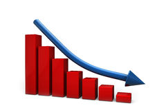 Declining bar chart and falling arrow Stock Photos