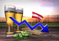 Declining beer consumption in Austria. 3D render. Declining beer consumption in Austria - 3D render Royalty Free Stock Images