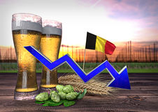 Declining beer consumption in Belgium. 3D render. Declining beer consumption in Belgium - 3D render Stock Images