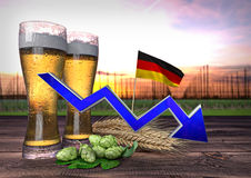 Declining beer consumption in Germany. 3D render. Declining beer consumption in Germany - 3D render Stock Image