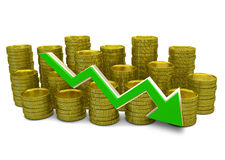 Declining costs - 3D finance graph - currency and green arrow. Declining costs - 3D finance graph - currency and declining green arrow stock illustration