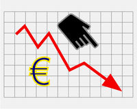Declining equity price of euro Royalty Free Stock Photo