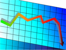 Declining graph. Illustration easy to edit Stock Photography