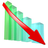 Declining graph. Color glass rising graph with red arrow Royalty Free Stock Images