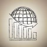 Declining graph with earth. Vector. Brush drawed black icon at l royalty free illustration