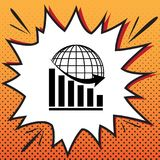 Declining graph with earth. Vector. Comics style icon on pop-art background.. Illustration. stock illustration