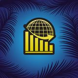 Declining graph with earth. Vector. Golden icon with black contour at blue background with branches of palm trees.. Illustration. stock illustration