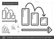 Declining graph line icon. Royalty Free Stock Images