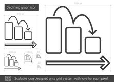 Declining graph line icon. vector illustration