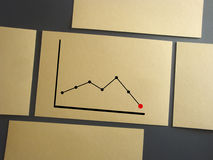 Declining graph. Printed on paper. On a wooden texture Royalty Free Stock Image