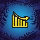 Declining graph sign. Vector. Golden icon with black contour at stock illustration