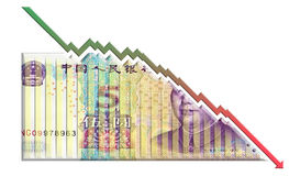 Declining Money Graph. Growth graph declining through a money bill Stock Photography