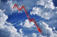 Declino del grafico di crisi finanziaria Fotografie Stock