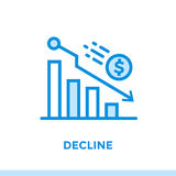 DECLINO lineare dell'icona di finanza, contante Adatto a cellulare app Immagini Stock Libere da Diritti