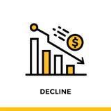 DECLINO lineare dell'icona di finanza, contante Pittogramma nello stile del profilo Adatto a apps, a siti Web ed a modelli mobili Immagine Stock Libera da Diritti