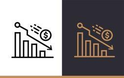 DECLINO lineare delle icone di vettore di finanza, contante Alta qualità Mo Fotografia Stock Libera da Diritti